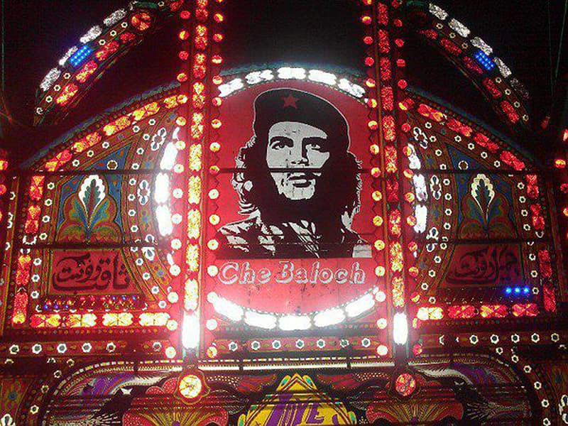 South American revolutionary, Che Guevara, on a truck in Quetta.