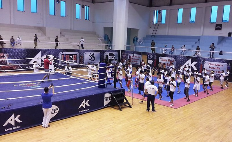 Amir Khan during a training session at Amir Khan Boxing Academy in Islamabad.— Photo courtesy: Noman Khan on Facebook