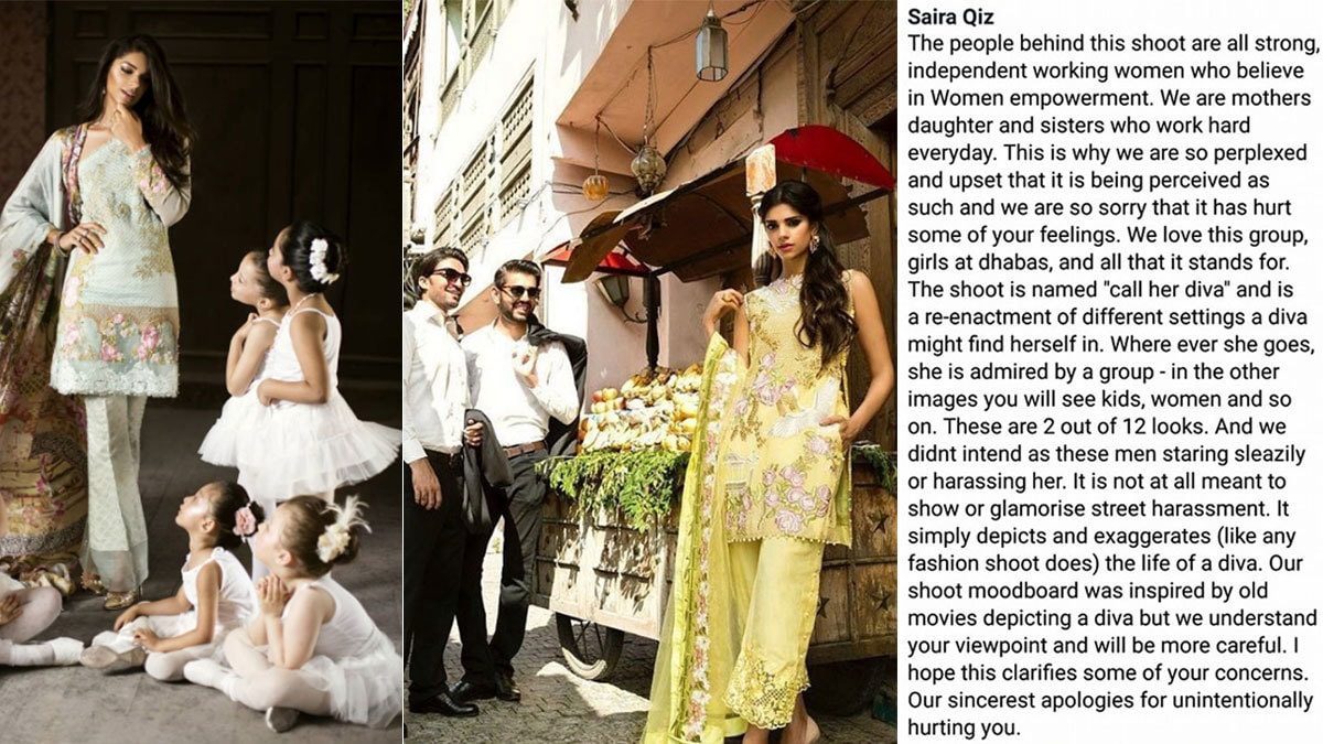 The designer behind Saira Shakira issued this clarification (R) and then uploaded a new image from the same shoot (L)