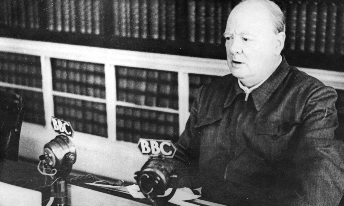 Prime Minister Winston Churchill makes a radio broadcast at No. 10 Downing Street, London, in November 1942 | AP