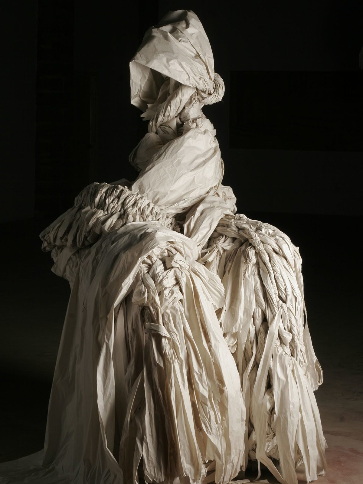 Seema Nusrat used paper and wooden armature to create her work for the Taza Tareen residency in 2006
