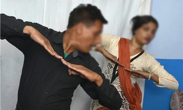 A dance instructor teaching students at his dance academy in Lahore. ─AFP