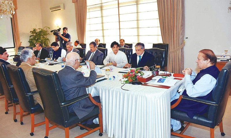 ISLAMABAD: Prime Minister Nawaz Sharif chairs a meeting on Fata reforms on Tuesday.—APP