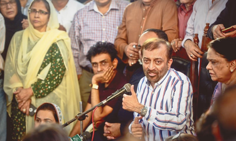 MUTTAHIDA leader Dr Farooq Sattar addresses a press conference at the Karachi Press Club on Tuesday.—White Star