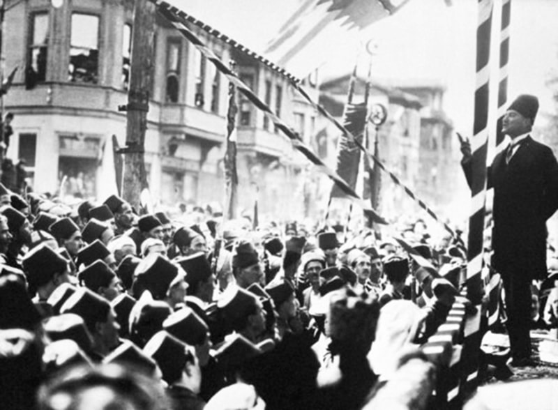 Mustafa Kamal speaks to Turks after abolishing the Ottoman Caliphate and declaring Turkey a secular-nationalist republic.