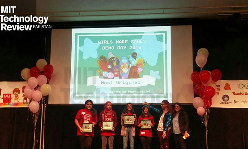 """Fatima Naweed's team wins an award for their original game idea at """"Girls Makes Games"""" ─ Courtesy  MIT Review Technology"""