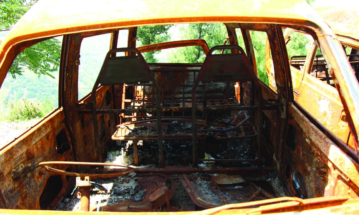 The interior of the burnt van |  Annie Ali Khan
