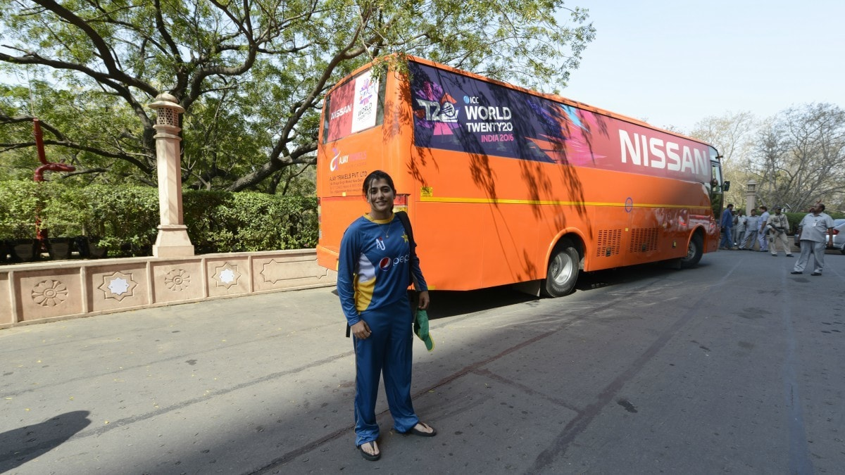 Sana Mir pauses for a photograph as the team gets ready to head to the stadium for the March 19 Pak vs. India, ICC T20 World Cup match in Delhi, India