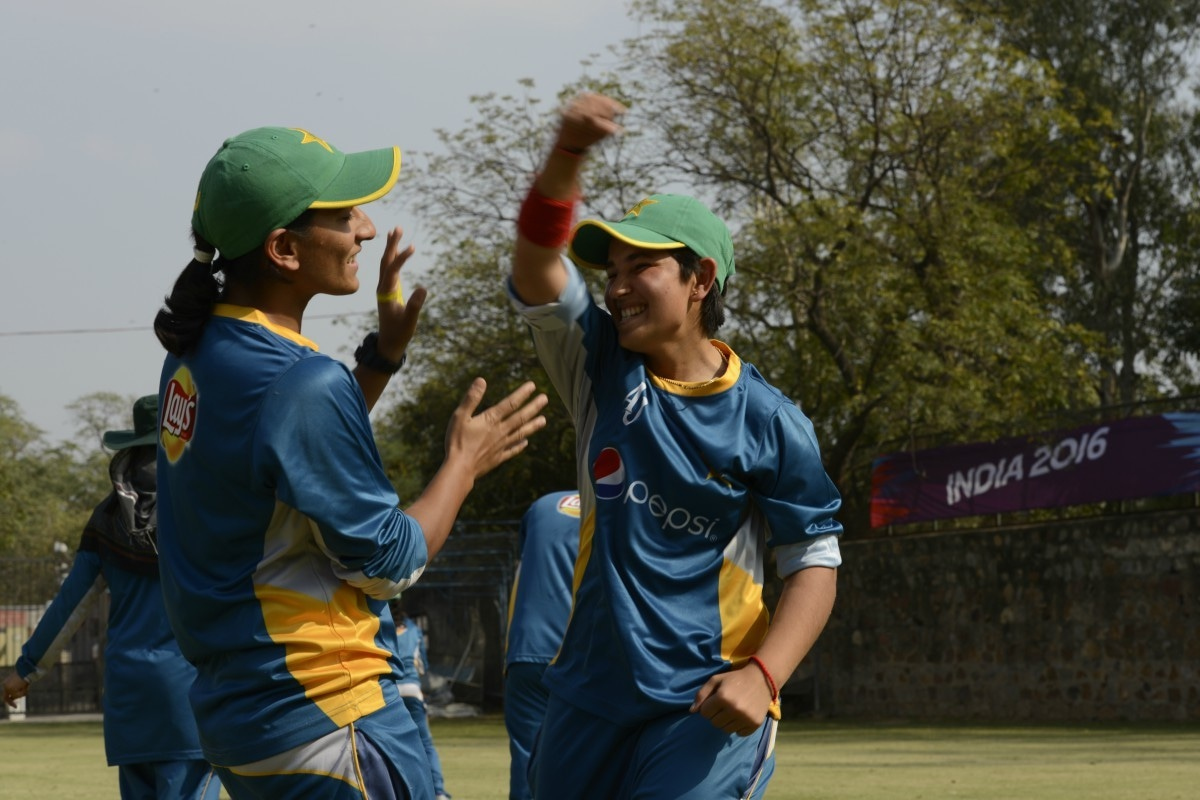 Anam Amin and Iram Javed having a moment at the warm-up session in Delhi, India