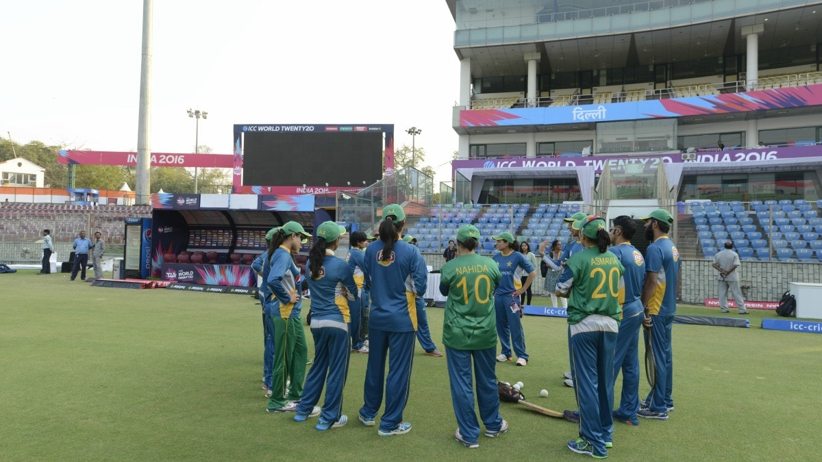 Pakistan's women's cricket team at the practice session at Feroz Shah Kotla Stadium in Delhi, India