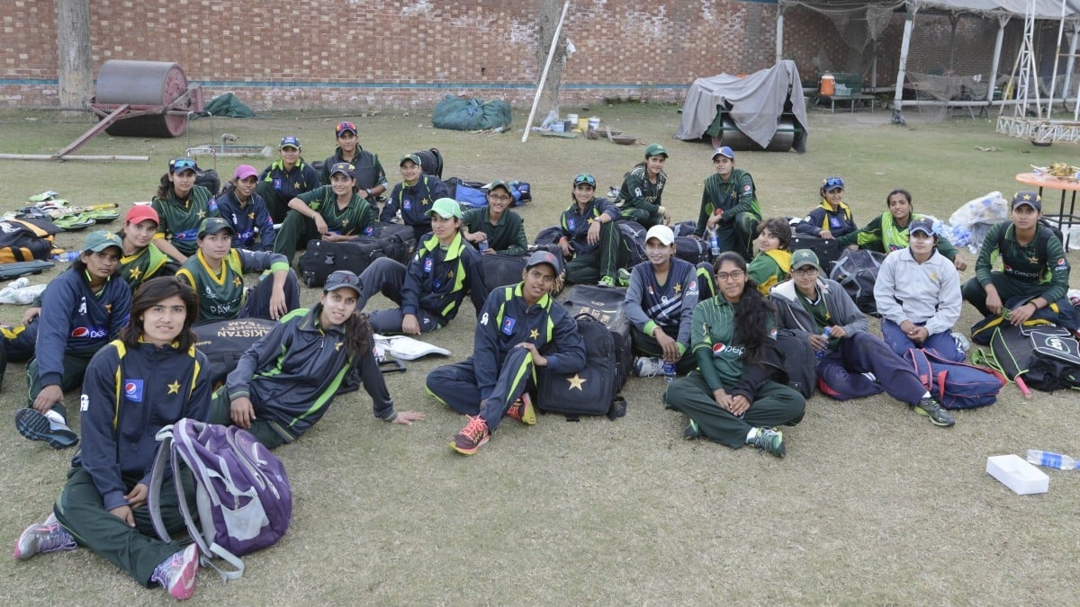 Pakistan's women's cricket team wrapping up after a strenuous day at the training camp at National Cricket Academy