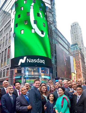 NEW YORK: New York's Times Square went green with the Pakistani flag as Independence Day was celebrated at Nasdaq by the Pakistan American Business Association with Ambassador Maleeha Lodhi on Friday.—APP