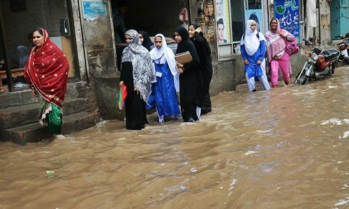 Streets seen flooded with rain water in Lahore. —Online