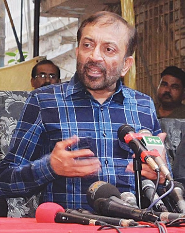DR Farooq Sattar calls the London-based leader neither bhai nor Quaid as a deliberate snub during the  press conference.—PPI