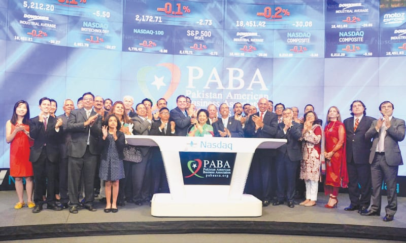 Ambassador Maleeha Lodhi rang Nasdaq's closing bell as part of Pakistan's independence celebrations along with members of the Pakistan-American Business Association which organised the event in New York on Aug 25.