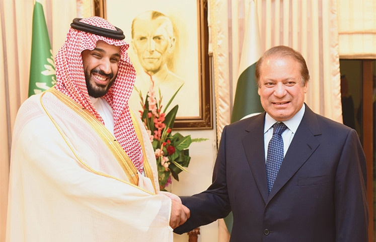 PRIME Minister Nawaz Sharif and Saudi Defence Minister Prince Mohammed bin Salman shake hands at PM House on Sunday.