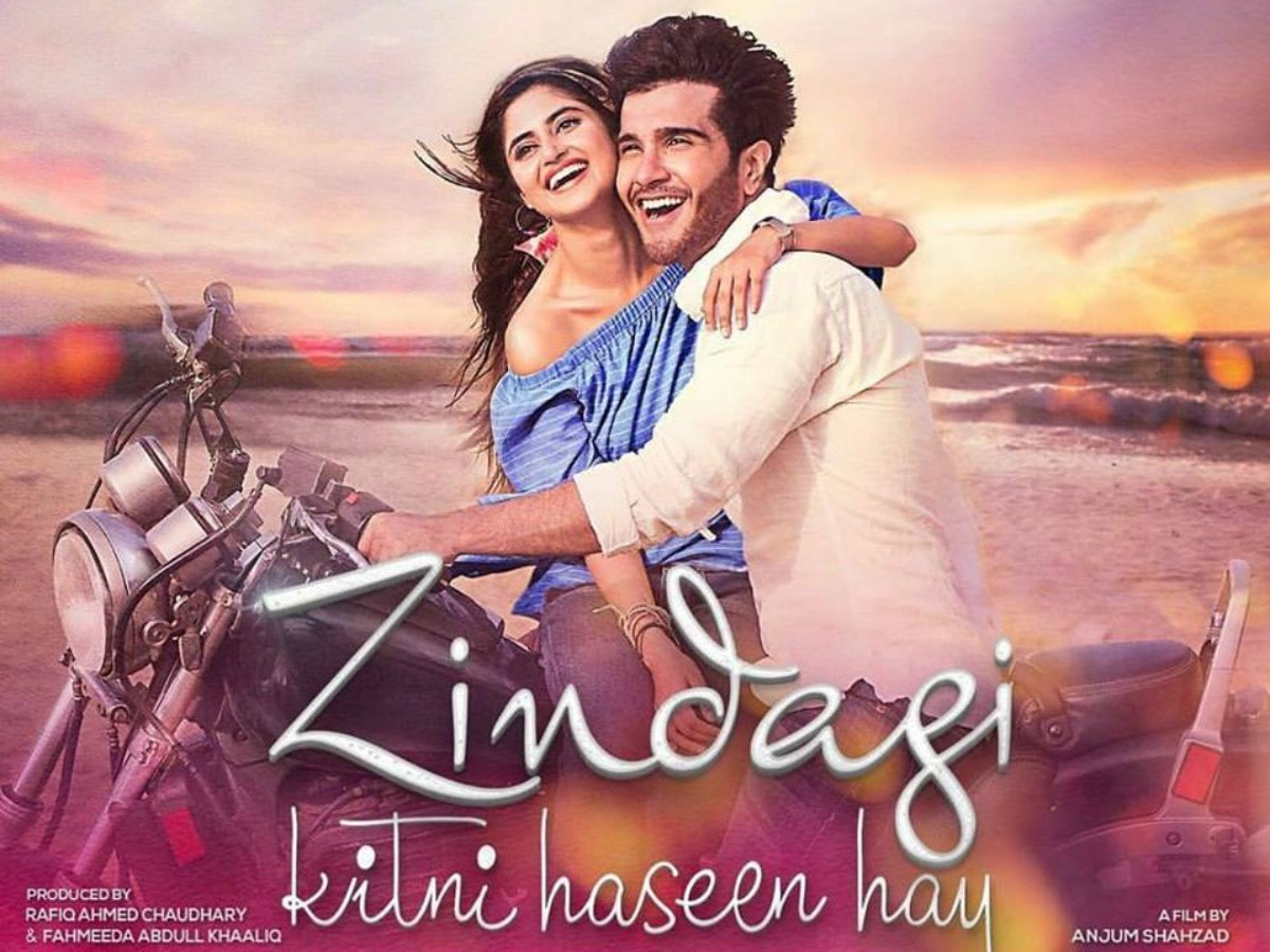 Sajal Aly and Feroze Khan on the poster of 'Zindagi Kitni Haseen Hay'.