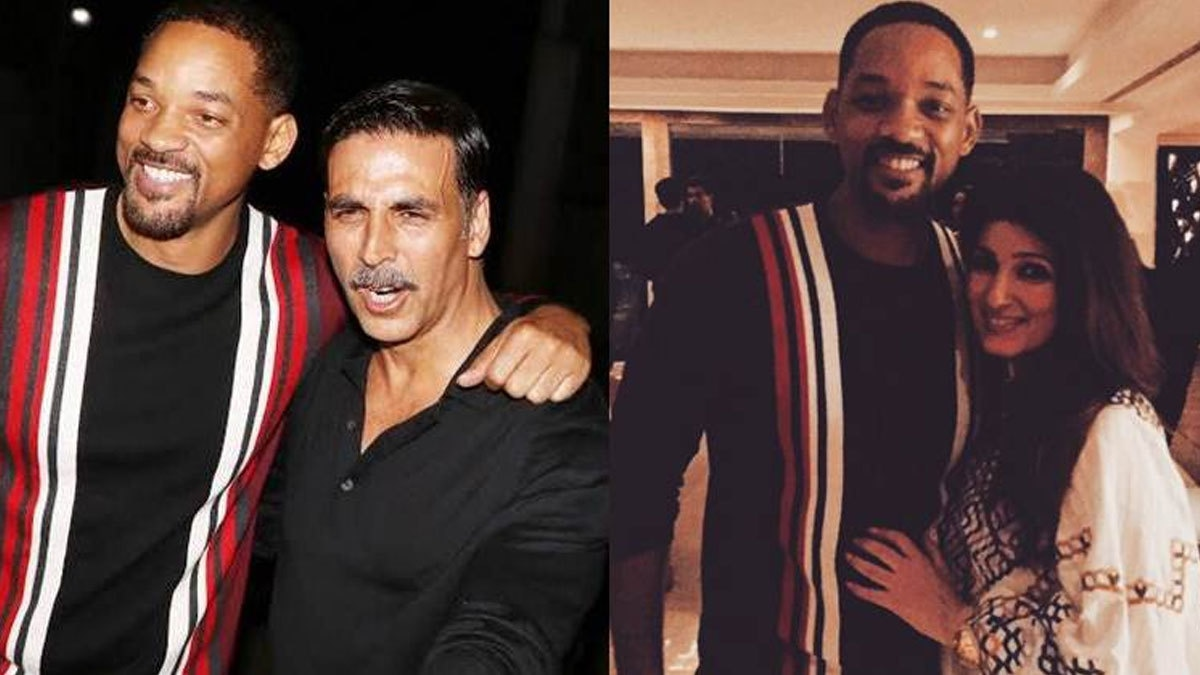 Akshay Kumar and Twinkle Khanna posing with Will Smith. Photo - Indian Express