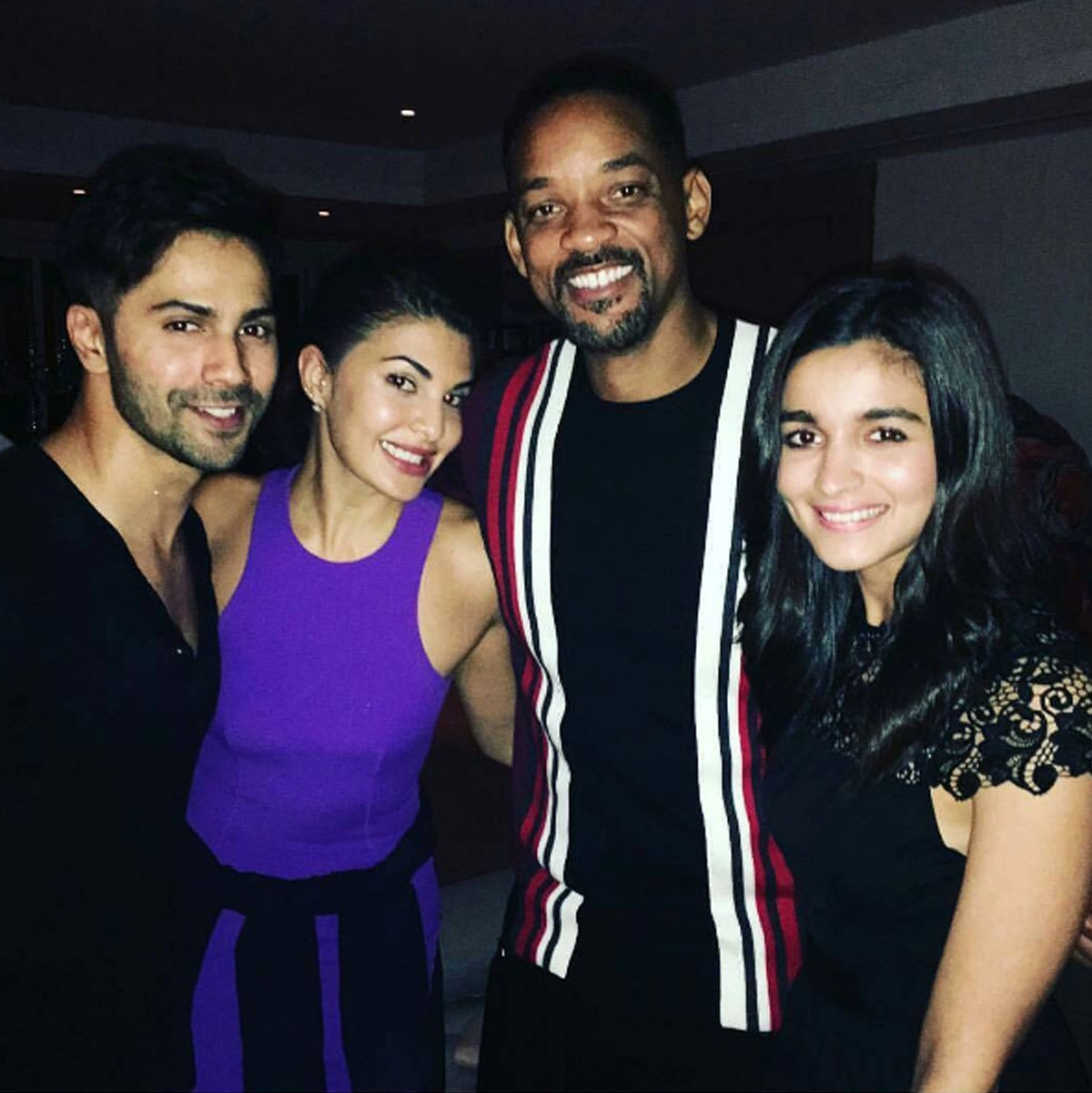 Will Smith with Varun Dhawan, Jacqueline Fernandez and Alia Bhatt at Akshay's success party. - Instagram