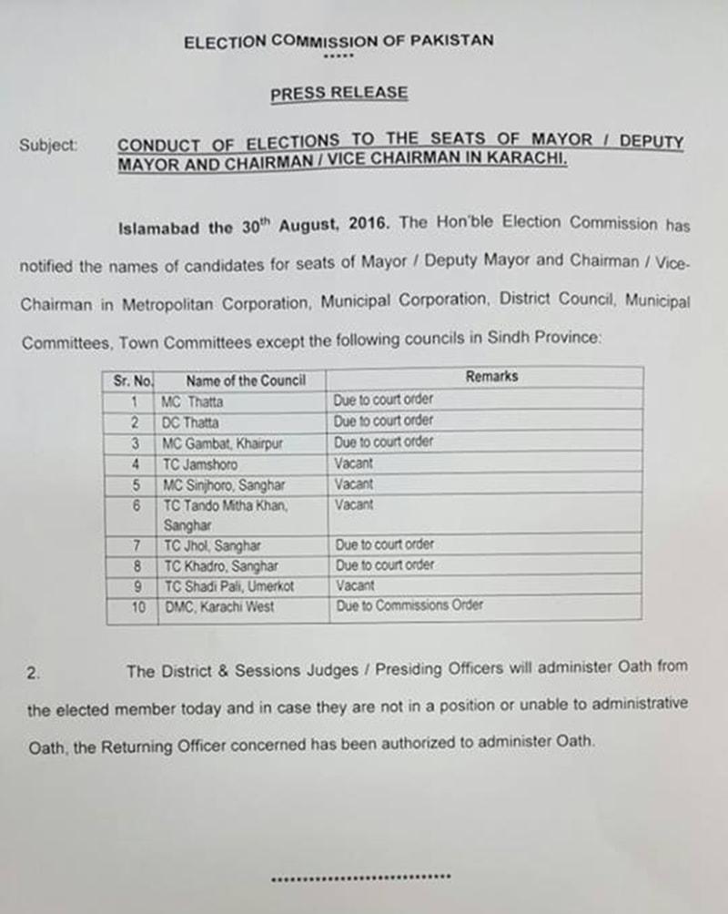 الیکشن کمیشن کی جانب سے جاری کیا گیا نوٹیفکیشن—۔ڈان نیوز