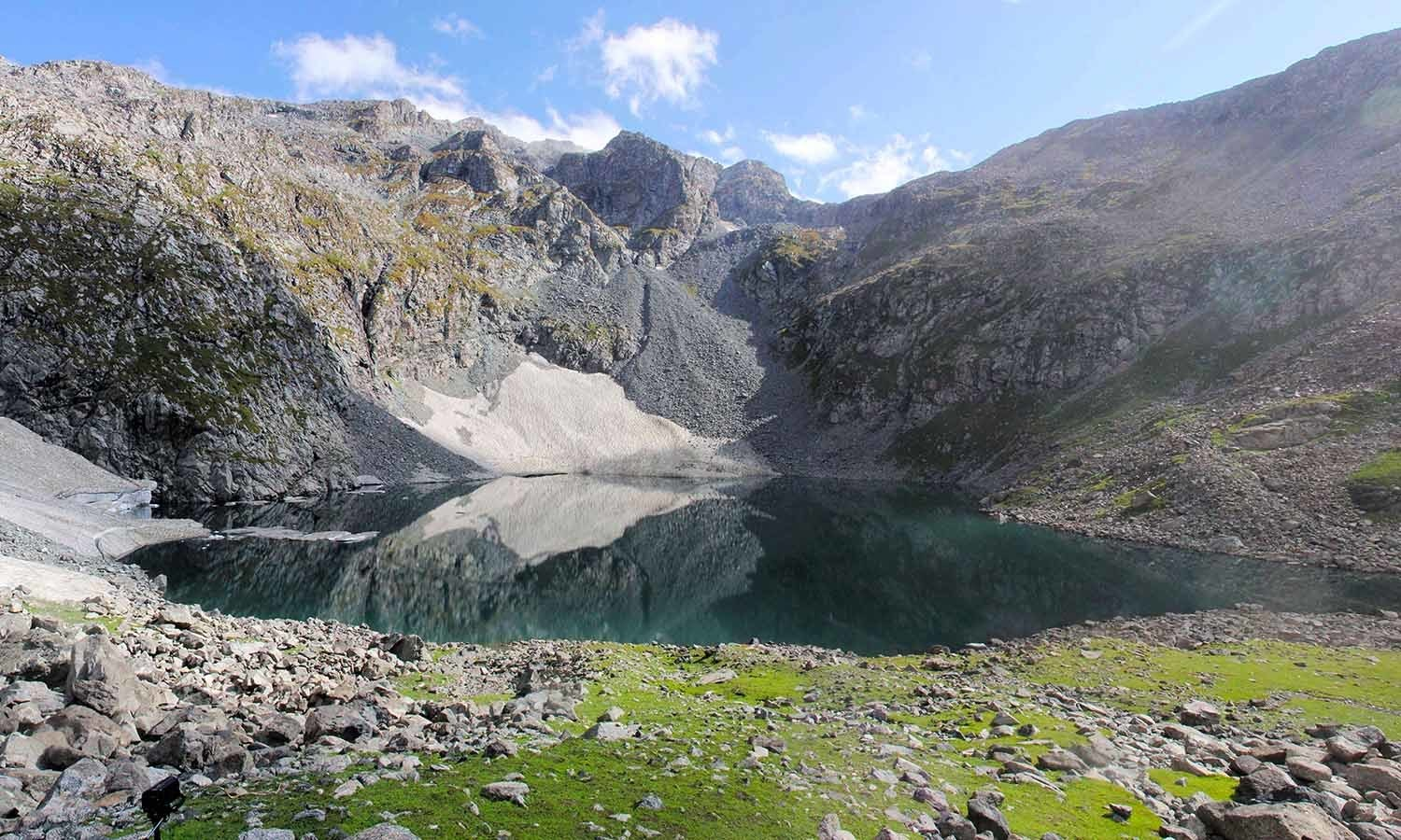 Bashigram Lake  is located in the alpine zone of Bashigram Valley reaching a height of 11,500 feet