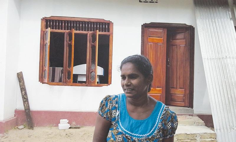 Ex-LTTE member Ranjini in her home in Selva Nagar, Kilinochchi.—Photo by writer
