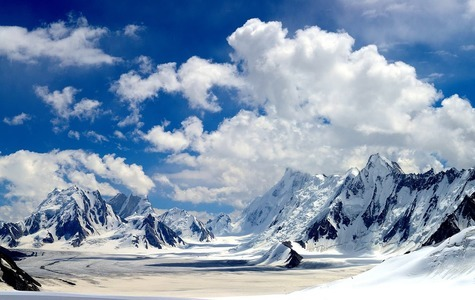 The Snow Lake without a reflection in the heart of the Karakoram