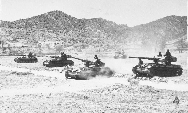 Armour on the move in Channab Sector during 1965 war. — Dawn File Photo