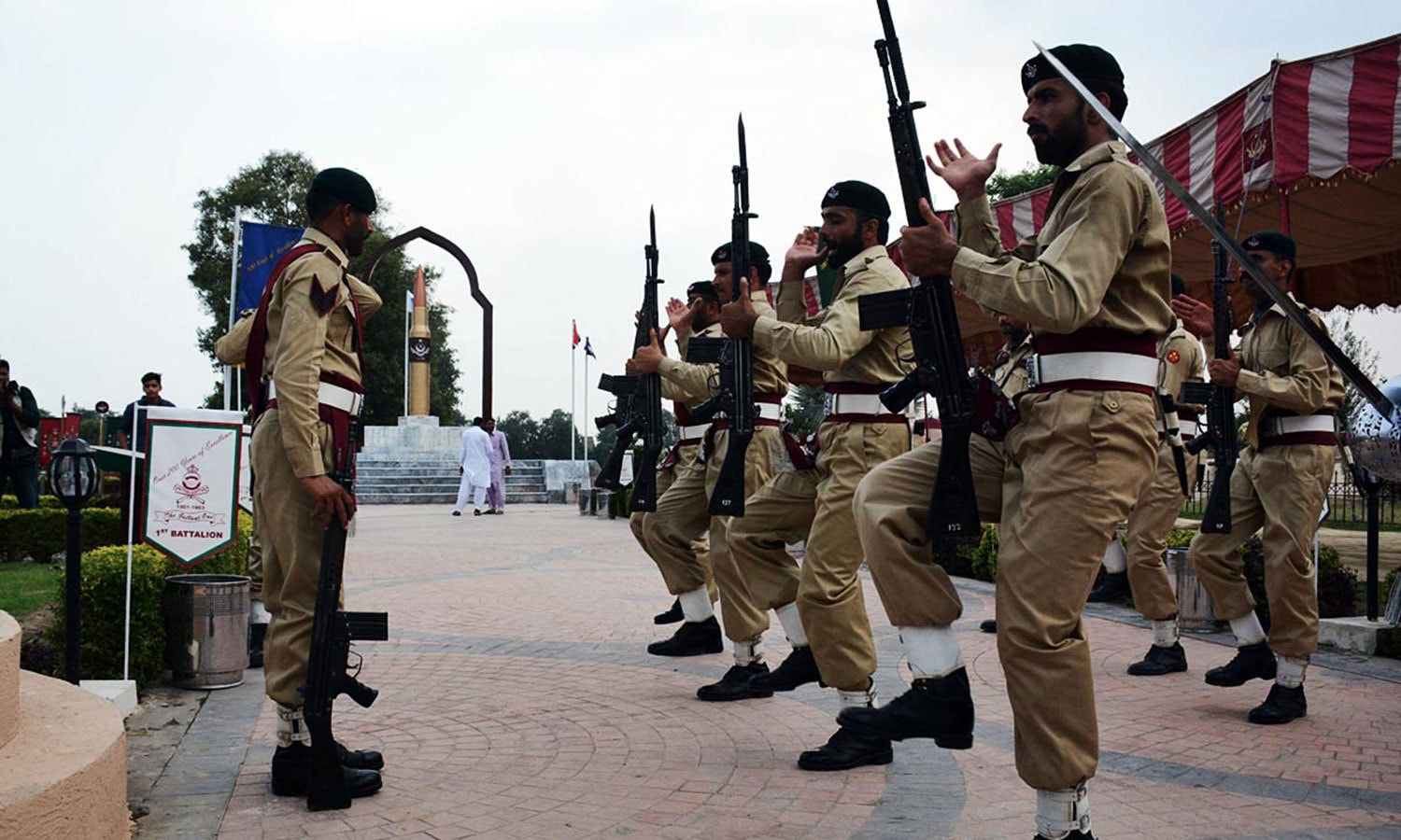 Army personnel rehearse as they prepare for Defence Day ceremony. — APP