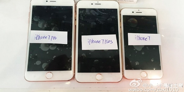 Alleged leaked shots of the iPhone 7, iPhone 7 Plus and iPhone 7 Pro spotted on Weibo.