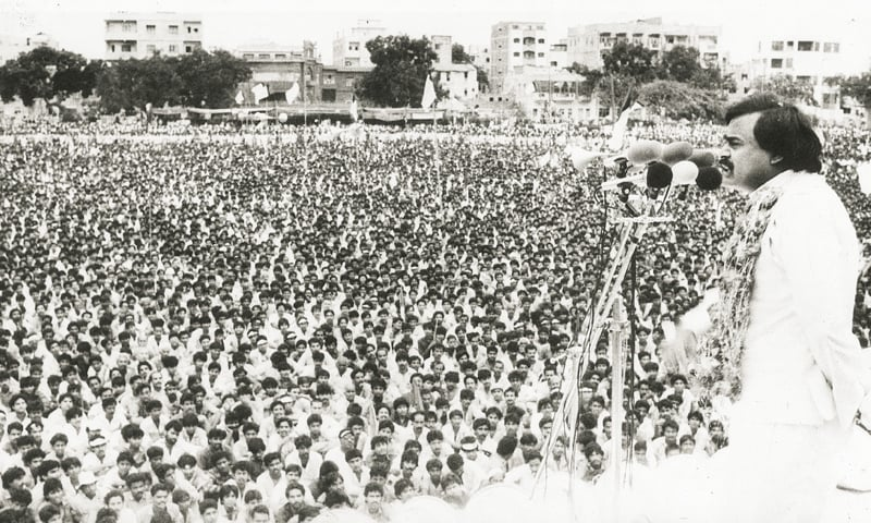 Peak Power: Altaf Hussain at the famous Nishtar Park rally in 1986 -Photo by White Star