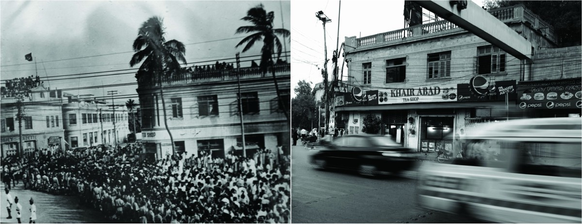 Khairabad Coffee House and Tea Shop, then and now: (Left) 1947 as M.A. Jinnah's motorcade drove past - Photo from State Bank Museum; (Right) present day - Photo by Tahir Jamal/White Star