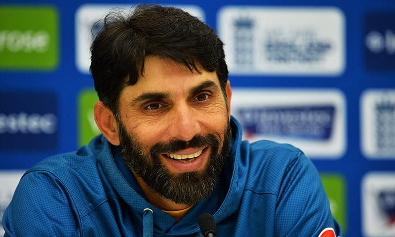 Misbah-ul-Haq addresses a press conference at the Oval in London. — AFP/File