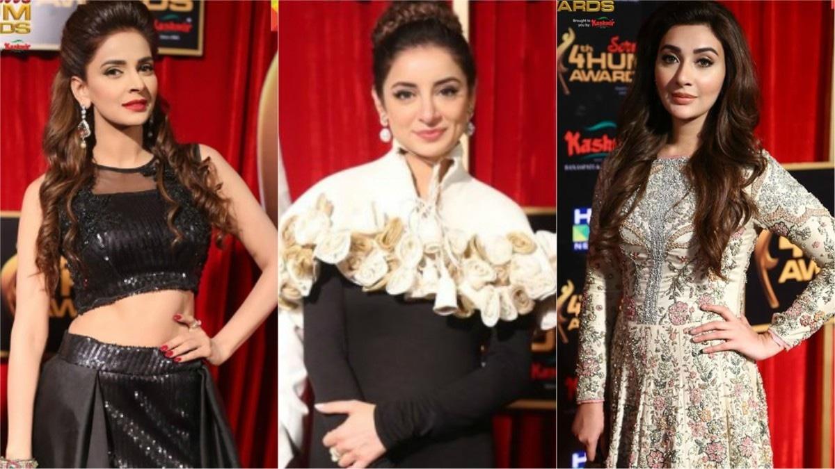From L-R: Saba Qamar, Sarwar Gillani and Aisha Khan at Hum TV Awards 2016
