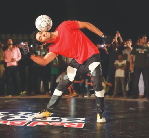 Champion football freestyler Jawad Blunt in action.