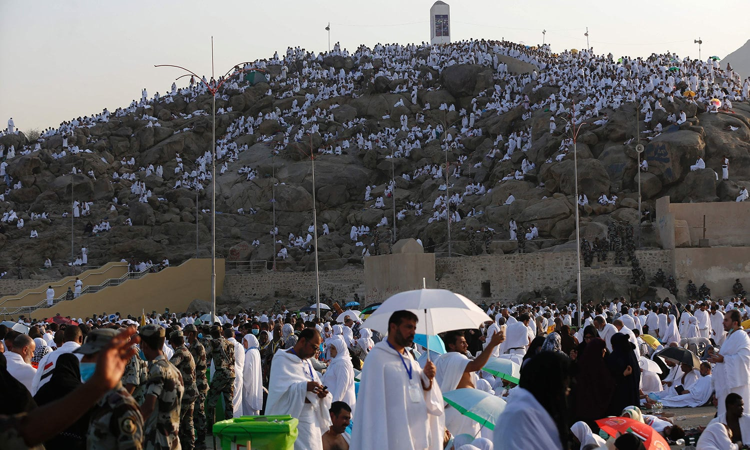 Pilgrims arrive at Mount Arafat where the Prophet Muhammad (PBUH) delivered his final sermon. — AFP