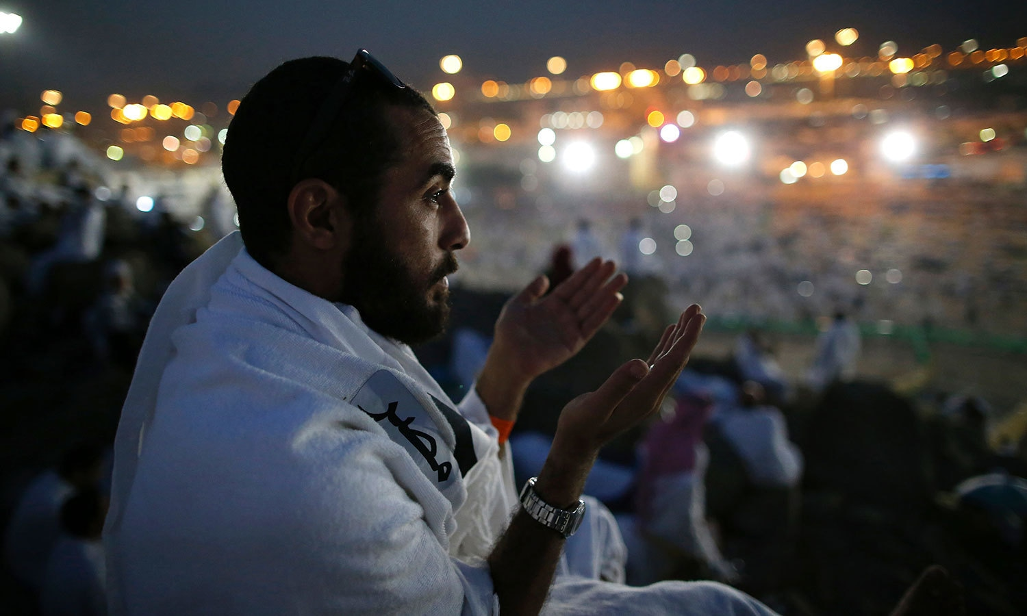 Pilgrim offers prayers at Mount Arafat. — AFP
