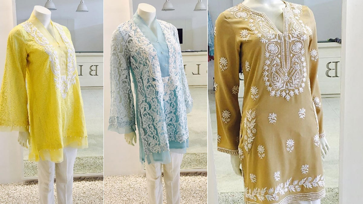 Sara opts for block colours and intricate embroidery to complement the designs