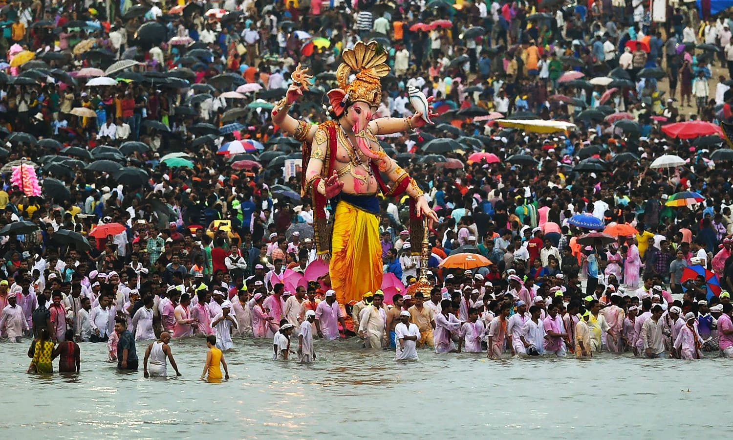 During the eleven day Ganesh Festival Hindu devotees