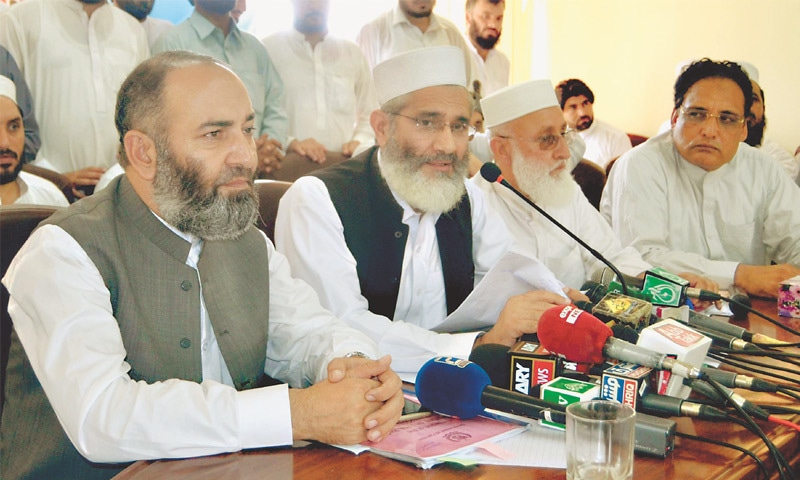 PESHAWAR: Jamaat-i-Islami chief Sirajul Haq demands immediate implementation of reforms in Fata at a press conference on Friday.—White Star