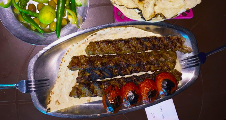 Having some kobideh kabab.