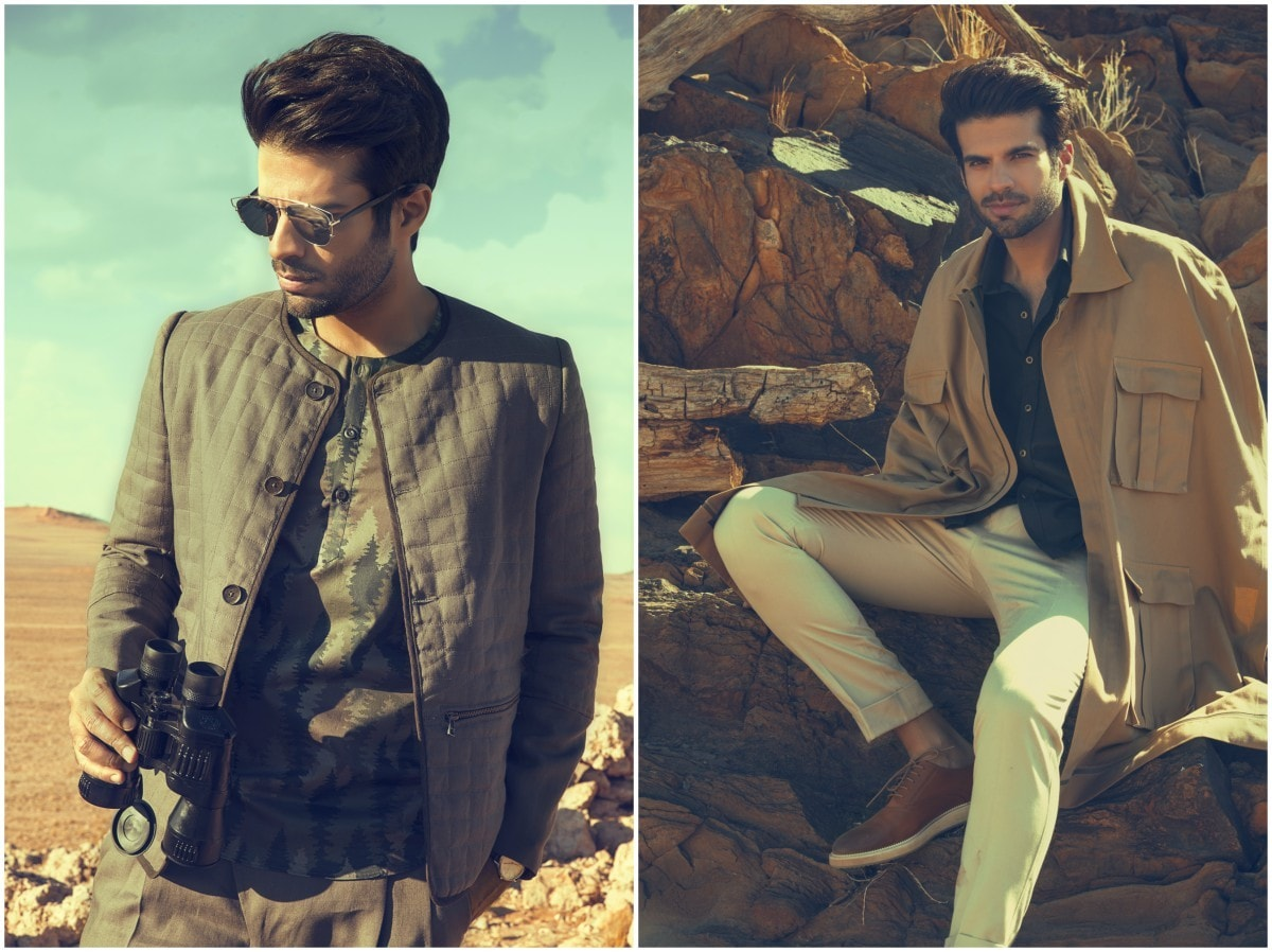 Sapphire's menswear line will go beyond the traditional kurta; safari suits, pants, shirts and even a jumpsuit in a safari-inspired color palette form the latest collection - Photographs by Nadir Firoz Khan and styled by Khadijah Shah