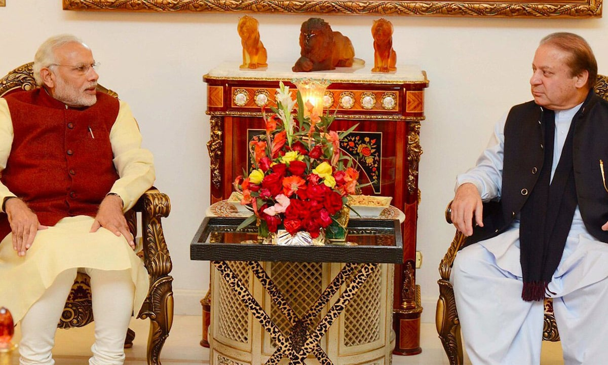 Prime Minister Nawaz Sharif in a meeting with his Indian counterpart Narendra Modi at Jati Umra in Raiwind on December 25, 2015 | PID