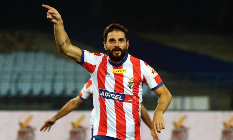 Atletico de Kolkata footballer Joffre Gonzalez celebrates his goal during the ISLmatch against Delhi Dynamos FC at The Salt Lake Stadium in Kolkata. — AFP/File