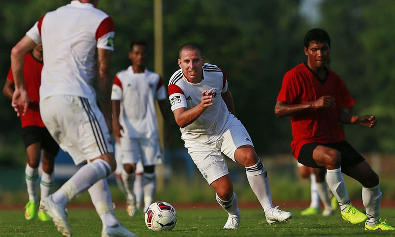 Spanish footballer Sergio Contreras Pardo, second right, who plays for the NorthEast United club in the ISL advances during a practice match in Gauhati, India. — AP/File
