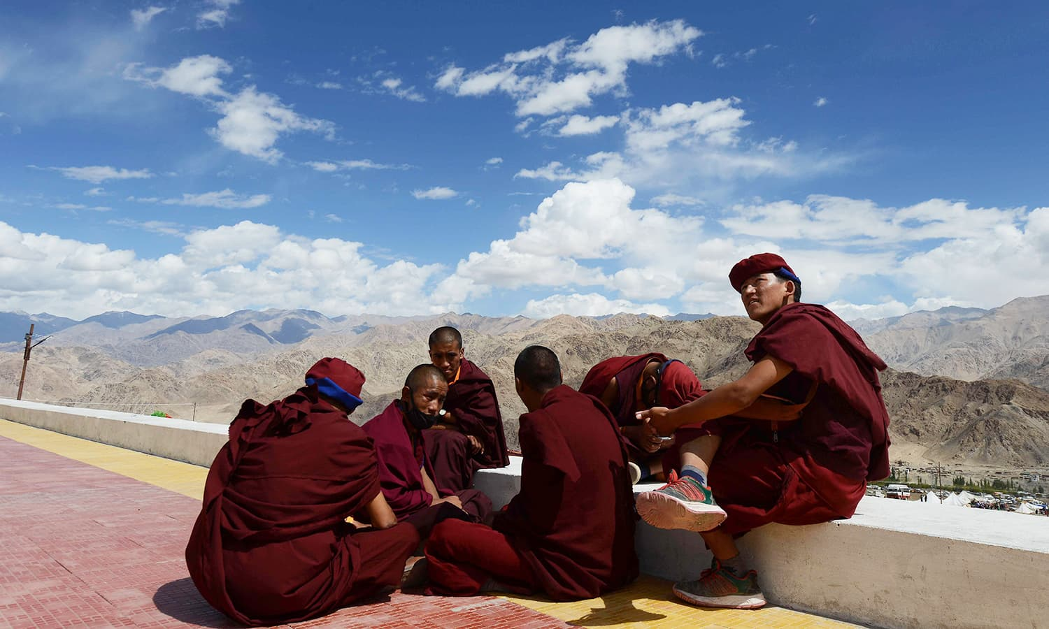 Buddhist monks gathered at the Naro palace during the Naropa festival. — AFP