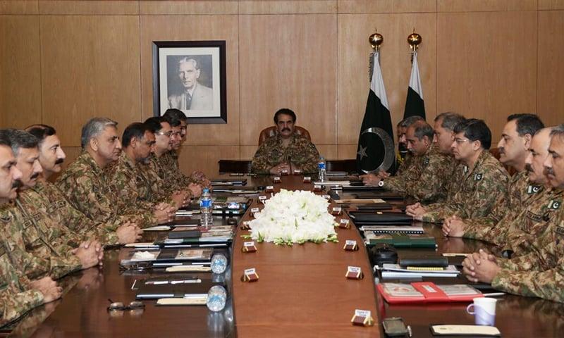 COAS General Raheel Sharif presiding over Corps Commander's Conference at GHQ in Rawalpindi. — ISPR