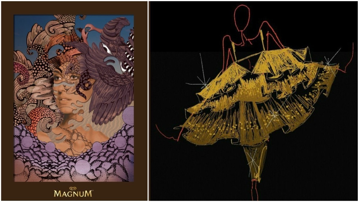 The invite to the party (left) has been designed by graphic designer Samya Arif, while designers are putting forward some surreal designs on the runway. But there's still more to the arty side of this year's Magnum Party - Publicity photos