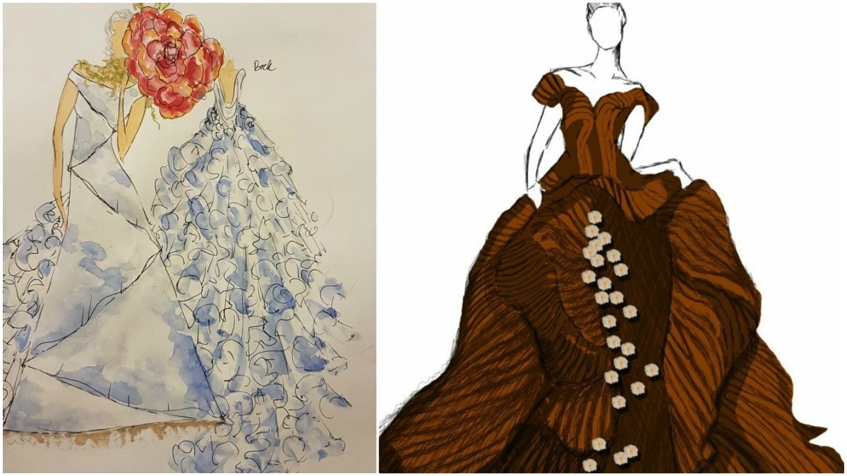 Sketches of designs by Nilofer Shahid and Shamaeel Ansari - Publicity photos