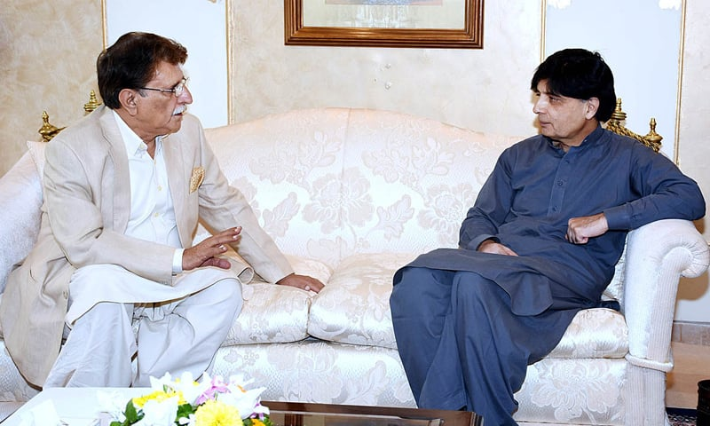ISLAMABAD: AJK Prime Minister Raja Mohammad Farooq Haider Khan and Interior Minister Chaudhry Nisar Ali Khan pictured during a meeting on Tuesday.—APP